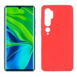 Funda de silicona roja para Xiaomi Mi Note 10 Semitransparente y mate