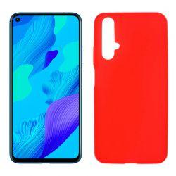 Funda de silicona roja para Huawei Nova 5T / Honor 20 Semitransparente