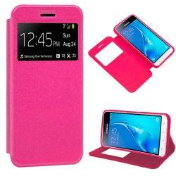Funda libro Flip Cover con Tapa y Ventana Samsung Galaxy J3 2016 Rosa