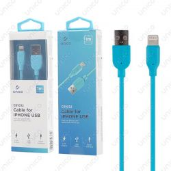 Cable Lightning Azul 2.4A de Carga Rápida y 1 Metro para iPhone y iPad