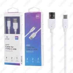 Cable USB Tipo C de 2.4A para Carga y Datos 3 Metros Blanco