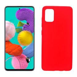 Funda silicona Samsung Galaxy A51 rojo, trasera mate semitransparente