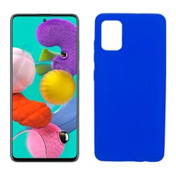 Funda silicona Samsung Galaxy A51 azul, trasera mate semitransparente