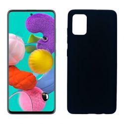 Funda silicona Samsung Galaxy A51 negro, trasera mate