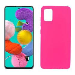 Funda silicona Samsung Galaxy A51 rosa, trasera mate semitransparente