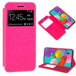 Funda libro con tapa, ventana y soporte Samsung Galaxy A51 Rosa