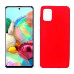 Funda silicona Samsung Galaxy A71 roja, trasera mate semitransparente