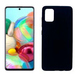 Funda silicona Samsung Galaxy A71 negra, trasera mate