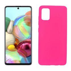 Funda silicona Samsung Galaxy A71 rosa, trasera mate semitransparente