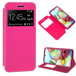 Funda libro con tapa, ventana y soporte Samsung Galaxy A71 Rosa