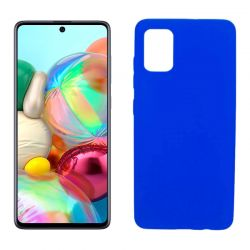 Funda silicona Samsung Galaxy A71 azul, trasera mate semitransparente