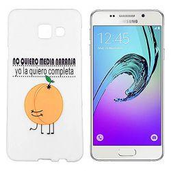 Funda de Silicona para Samsung Galaxy A3 2016 dibujo y frase Naranja