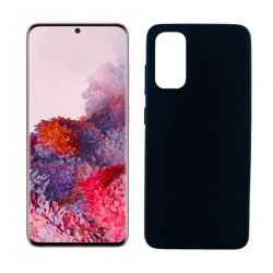 Funda negra silicona Samsung Galaxy S20, trasera mate