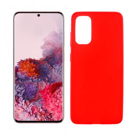 Funda roja silicona Samsung Galaxy S20, trasera mate semitransparente
