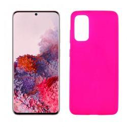 Funda rosa silicona Samsung Galaxy S20, trasera mate semitransparente