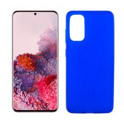 Funda azul silicona Samsung Galaxy S20, trasera mate semitransparente