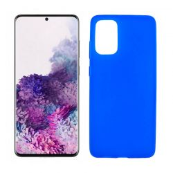 Funda azul silicona Samsung Galaxy S20 Plus, trasera mate semitransparente