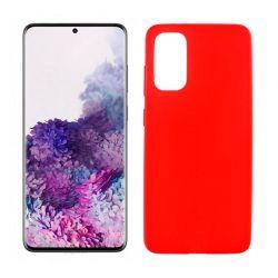 Funda roja silicona Samsung Galaxy S20 Plus, trasera mate semitransparente