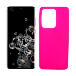 Funda rosa silicona Samsung Galaxy S20 Ultra, trasera mate semitransparente