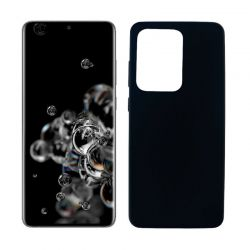 Funda negra silicona Samsung Galaxy S20 Ultra, trasera mate