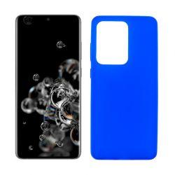 Funda azul silicona Samsung Galaxy S20 Ultra, trasera mate semitransparente
