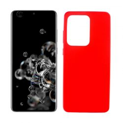 Funda roja silicona Samsung Galaxy S20 Ultra, trasera mate semitransparente