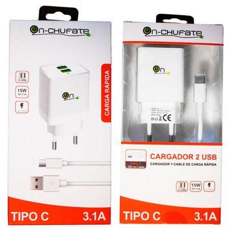 Cargador carga rápida doble usb, 3.1A, 15W y cable USB C