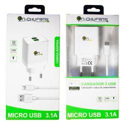 Cargador de carga rápida con doble usb, 3.1A, 15W y cable Micro USB