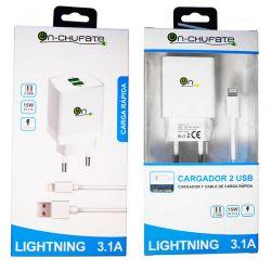 Cargador de carga rápida con doble usb, 3.1A, 15W y cable Lightning
