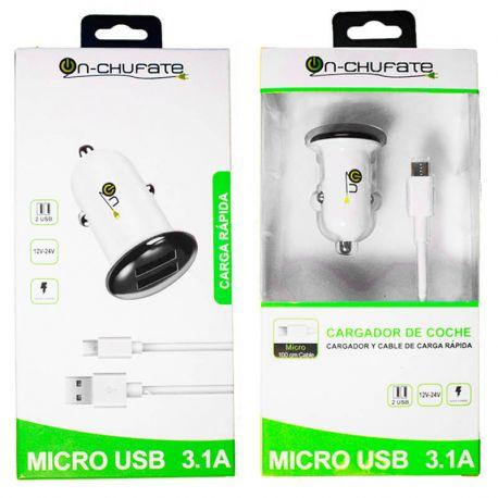 Cargador para coche de carga rápida con doble usb, 3.1A, 15W y cable Micro USB