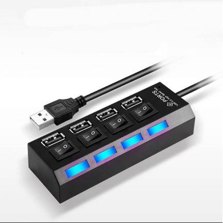 Hub USB 2.0 de 4 Puertos con interruptor