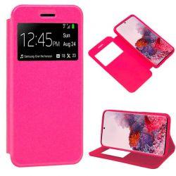 Funda con tapa, ventana y soporte para Samsung Galaxy S20 Rosa