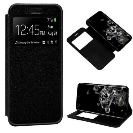 Funda con tapa, ventana y soporte para Samsung Galaxy S20 Ultra Negro