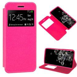 Funda con tapa, ventana y soporte para Samsung Galaxy S20 Ultra Rosa