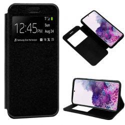 Funda con tapa, ventana y soporte para Samsung Galaxy S20 Plus Negro