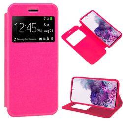 Funda con tapa, ventana y soporte para Samsung Galaxy S20 Plus Rosa