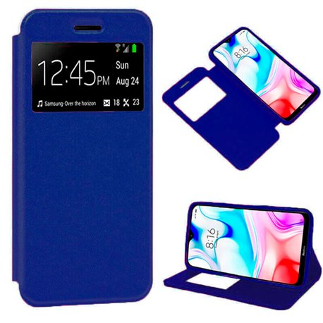 Funda de Tapa con Imán, Ventana y Soporte para Xiaomi Redmi 8 Azul