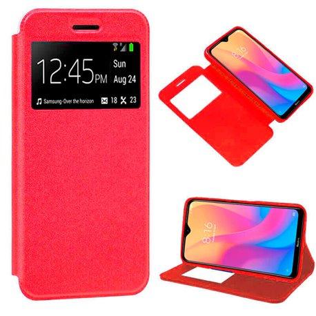 Funda de Tapa con Imán, Ventana y Soporte para Xiaomi Redmi 8A Rojo