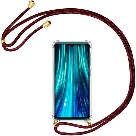 Funda colgante con cordón para Xiaomi Redmi Note 8 Pro Burdeos