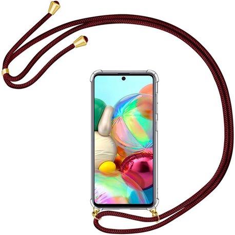 Funda colgante con cordón para Samsung Galaxy A71 Burdeos