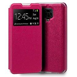 Funda de Tapa con Ventana para Xiaomi Redmi Note 9S rosa