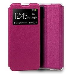 Funda con tapa y ventana para Samsung Galaxy A41 Rosa