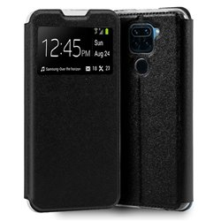 Funda de Tapa con Ventana para Xiaomi Redmi Note 9 negro