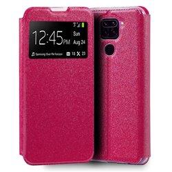 Funda de Tapa con Ventana para Xiaomi Redmi Note 9 rosa