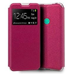 Funda con tapa y ventana para Huawei P40 Lite E Rosa