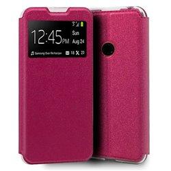 Funda con tapa y ventana para Huawei P Smart 2020 rosa