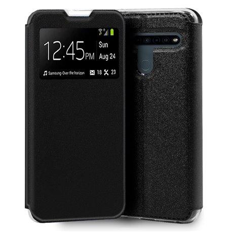 Funda con tapa y ventana para LG K41S / K51S Negro