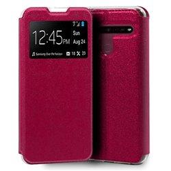 Funda con tapa y ventana para LG K41S / K51S rosa