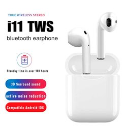 Auriculares Bluetooth i11 TWS Inalámbricos con Dock de carga Blanco