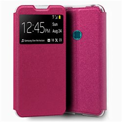 Funda con tapa y ventana para Samsung Galaxy A20S Rosa